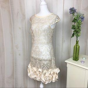 Jessica Simpson Cream Embroidered Ruffle Dress